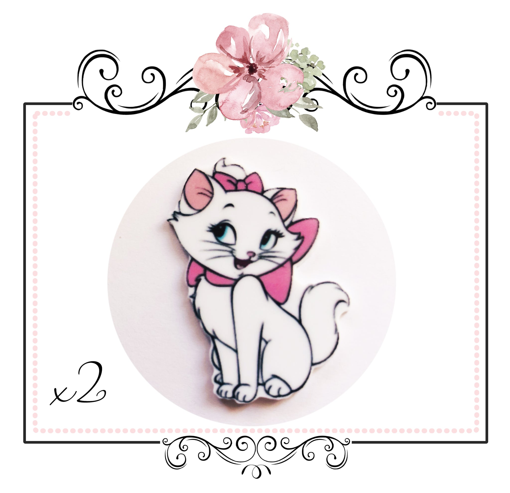 Marie Aristocats Resin Embellishment x 2 pieces