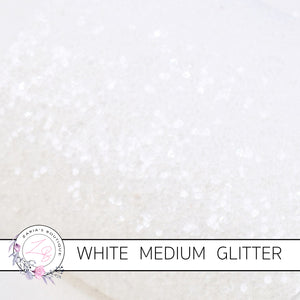Snow White ~ Medium Glitter Faux Leather Fabric Sheets