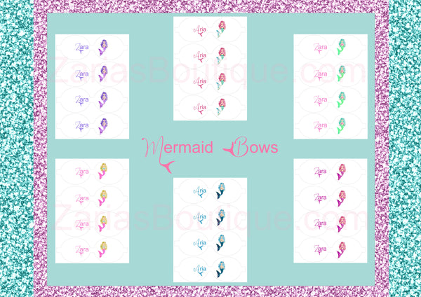 Mermaid Name Bows ~ Custom Printed Canvas Sheets ~ Pink ~ Bow Making