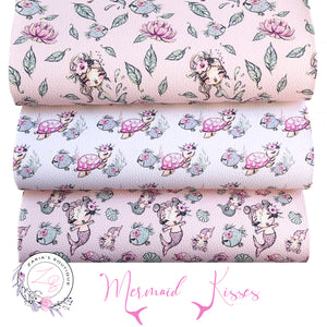 Custom Mermaid Floral Vegan Faux Leather ~ Single Sheets OR Multi-Pack