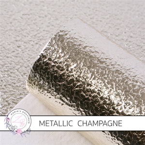 METALLIC ~ Champagne Grain Faux Leather