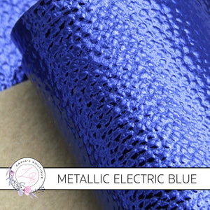 Metallic Electric Blue ~ Pebble Grain Vegan Leather