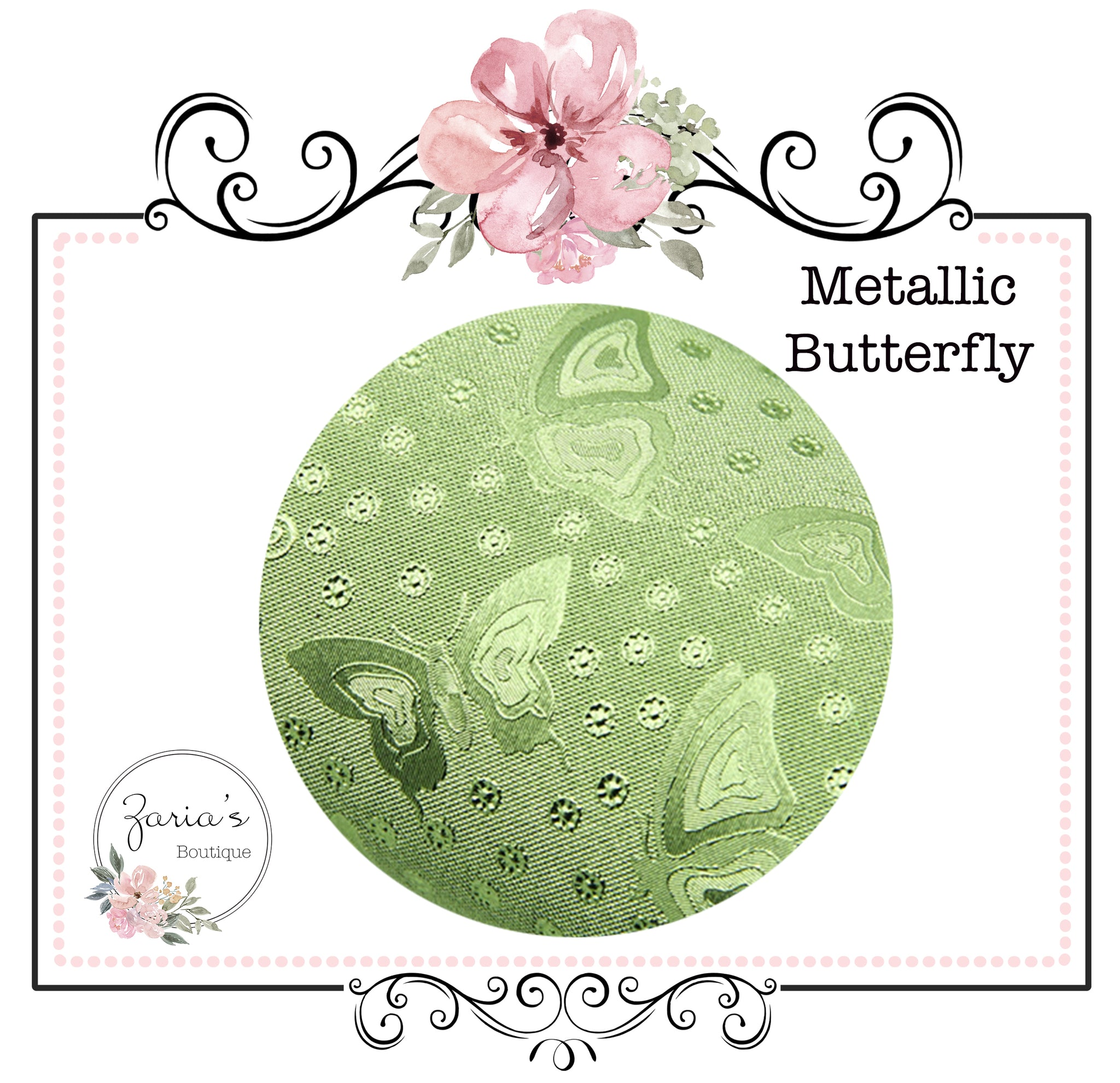 Metallic Green Butterfly ~  Fine Embossed Faux Leather ~ 0.22mm Thick