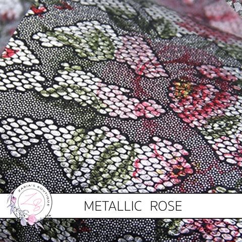 Vintage Rose Black Lace Metallic Silver Embossed Floral  ~ Faux Leather Sheets