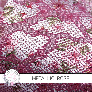 Vintage Rose Deep Pink Metallic Silver Embossed Lace Floral  ~ Faux Leather Sheets