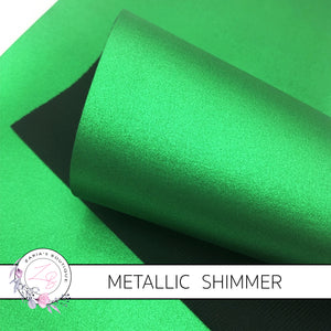 Green Metallic Shimmer ~ Faux Leather ~ 1mm Thick
