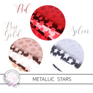 Metallic Stars ~ Faux Leather ~ Red, Rose Gold & Silver