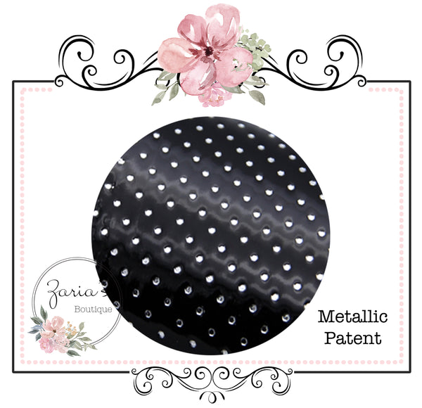 Black Silver Spots ~ Textured Metallic Faux Leather ~ Black Leatherette Sheets