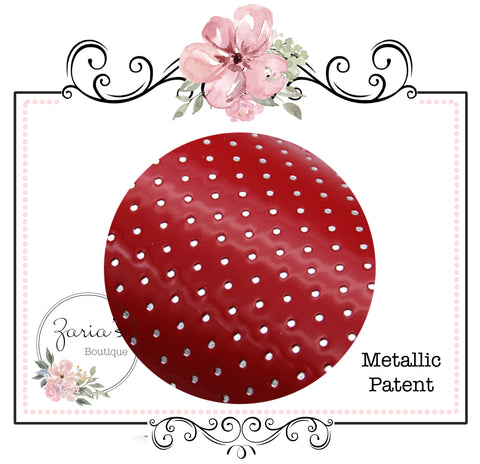 Red Silver Spots ~ Textured Metallic Faux Leather