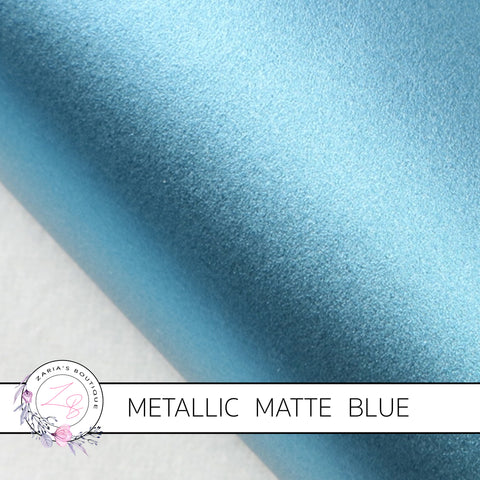 Metallic Matte ~ Faux Leather Leatherette ~ Blue ~ 0.74mm