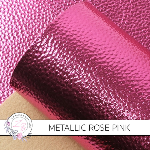 Metallic Rose Pink ~ Pebble Grain Vegan Leather