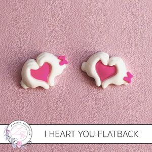 I Heart You ~ Flatback Resin Embellishments ~ x 2 pieces