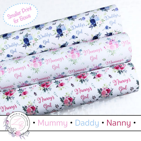 Mummy • Daddy • Nanny's Girl • Floral Vegan Faux Leather • Single Sheets & Multi-Pack