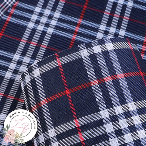 Navy Tartan Check ~ Faux Leather Fabric  ~ 0.52mm