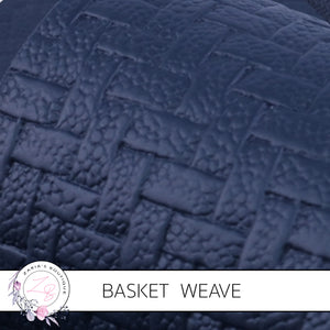 Basket Weave Textured Faux Leather Leatherette • Navy Blue • 0.84mm