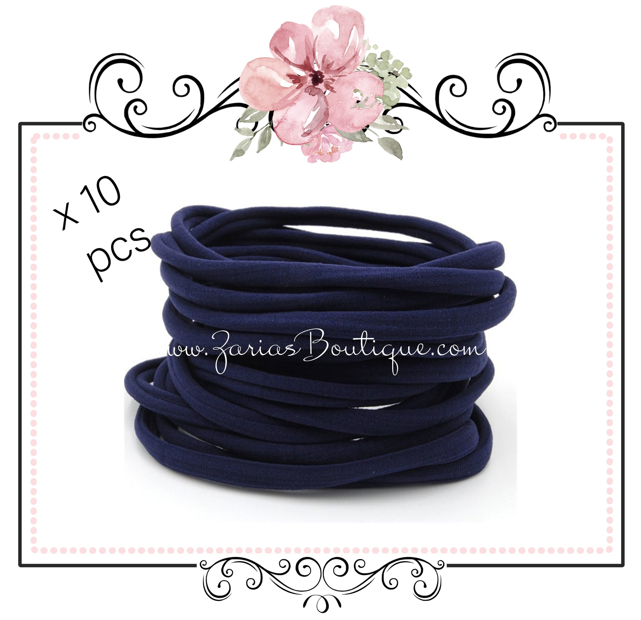 SALE 10 Nylon Headbands ~ Navy Blue ~ Fits Babies & Children