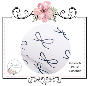 Navy & White Bows ~ Smooth Faux Leather