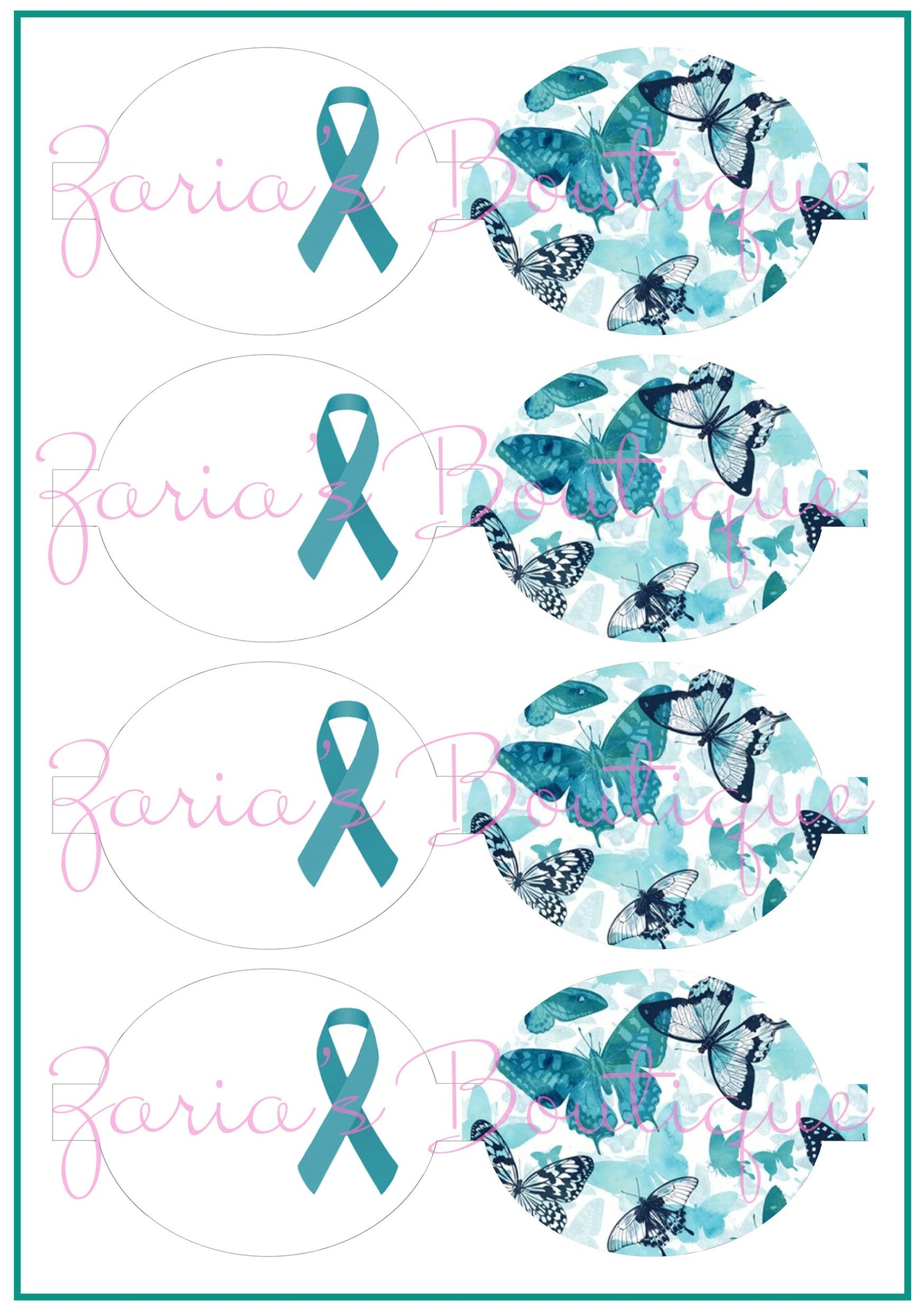 Teal Ovarian Cancer Awareness Bows ~ Custom Printed Canvas Sheets ~ Bow Making