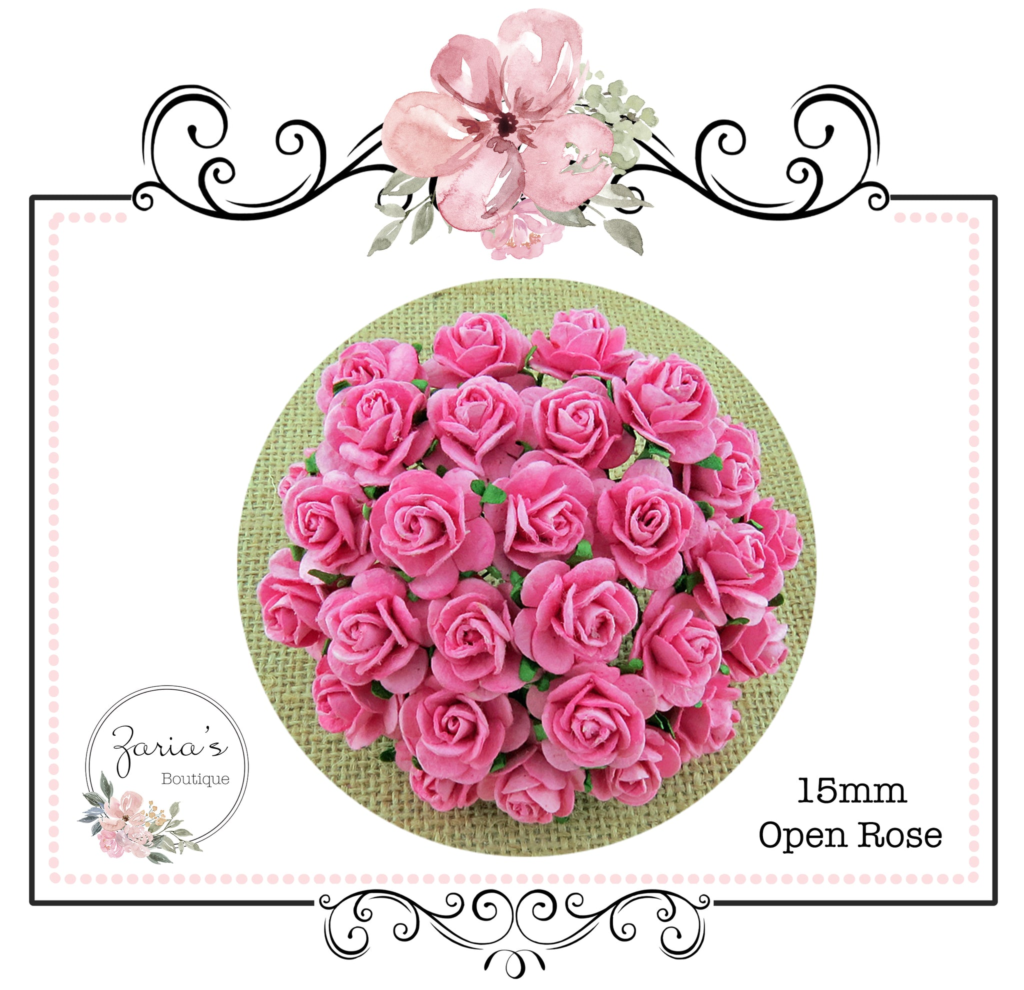 Mulberry Paper Flower ~ Pink Open Rose ~ 15mm x 10 pieces