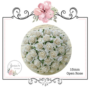Mulberry Paper Flower ~ Ivory Open Rose ~ 15mm x 10 pieces