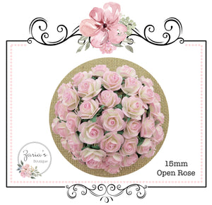 Mulberry Paper Flower ~ Two-Tone Pink Open Rose ~ 15mm x 10 pieces
