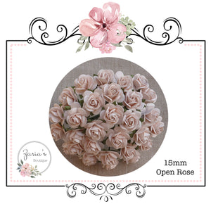 Mulberry Paper Flower ~ Pale Peach Open Rose ~ 15mm x 10 pieces