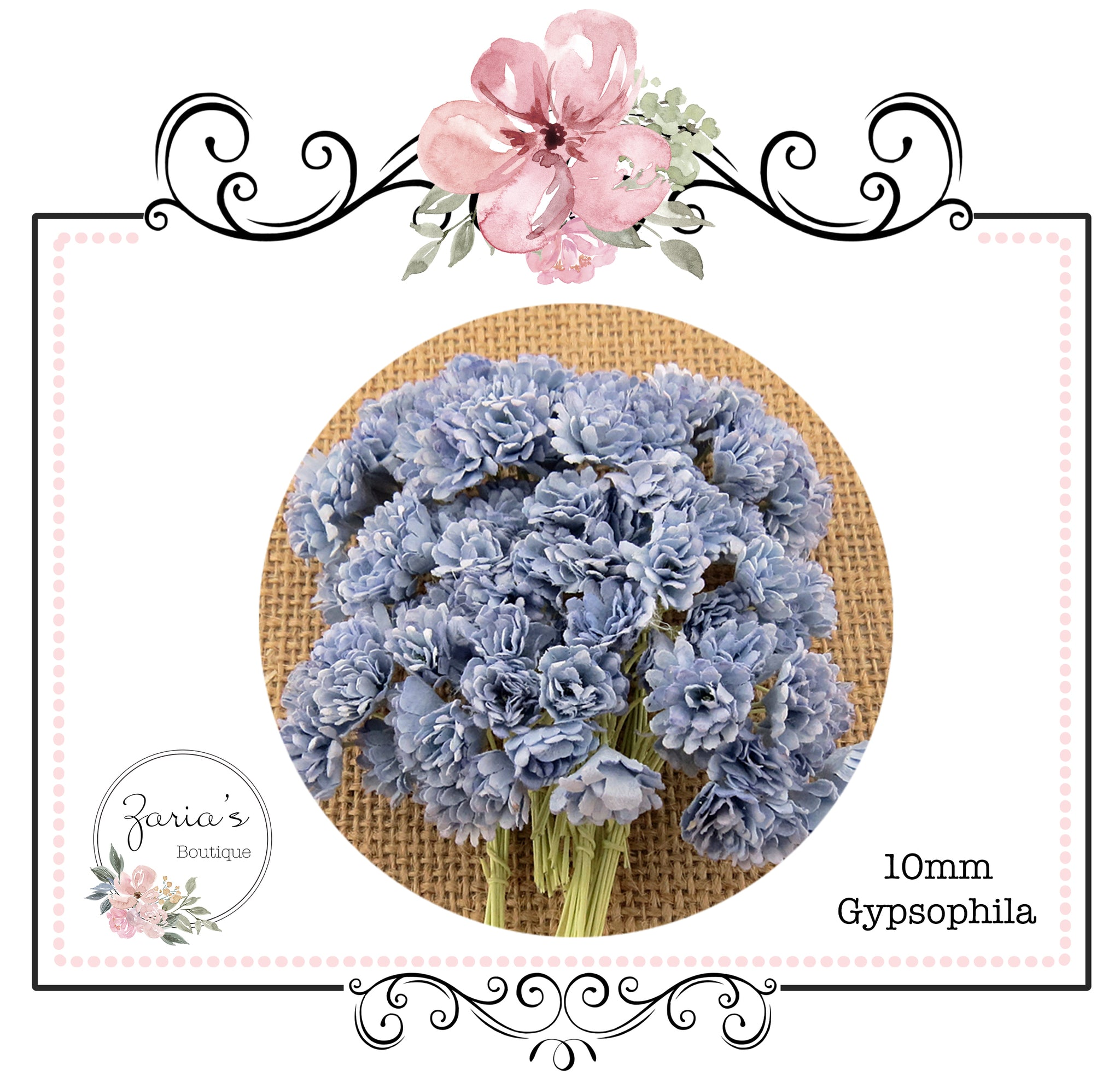 Mulberry Paper Flower ~ Two-Tone Antique Blue Gypsophila ~ 10mm x 10 pieces