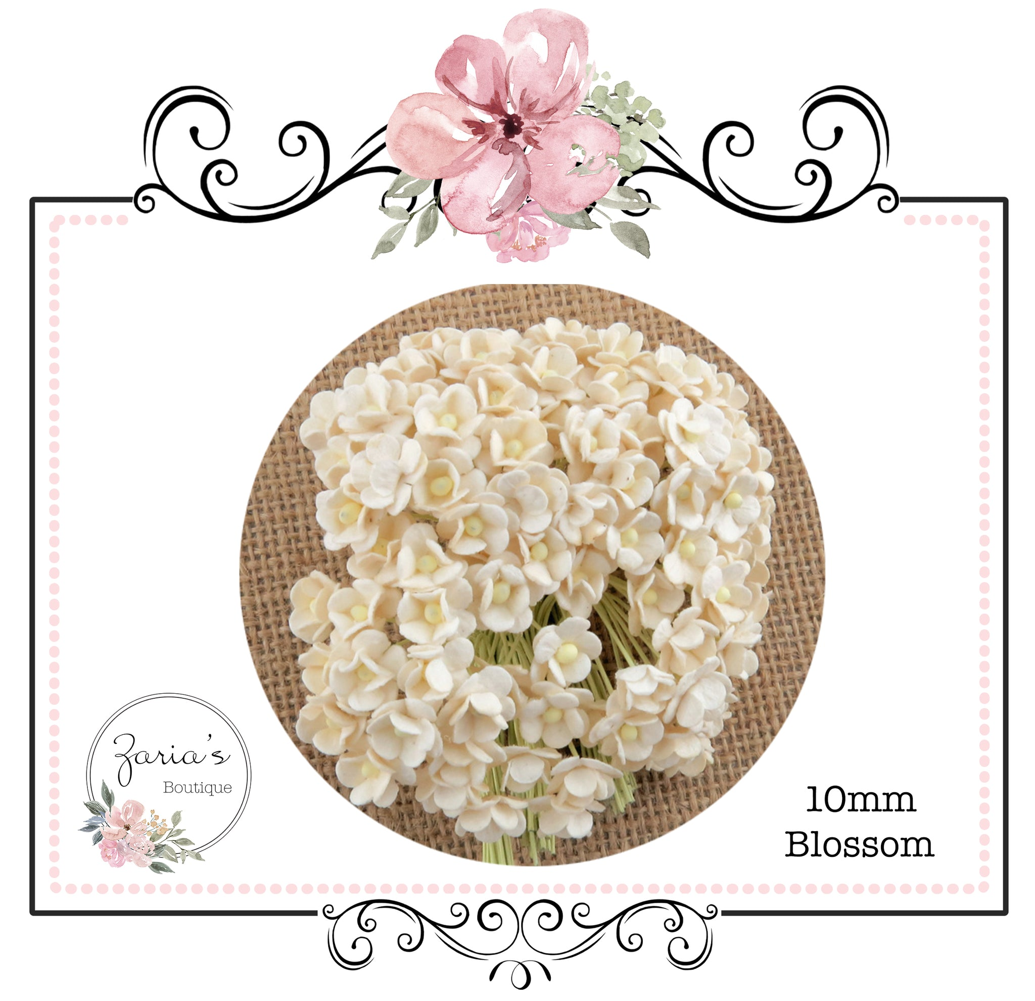 Mulberry Paper Flowers ~ Mini Sweetheart Blossoms ~ Ivory ~ 10mm x 10 pieces