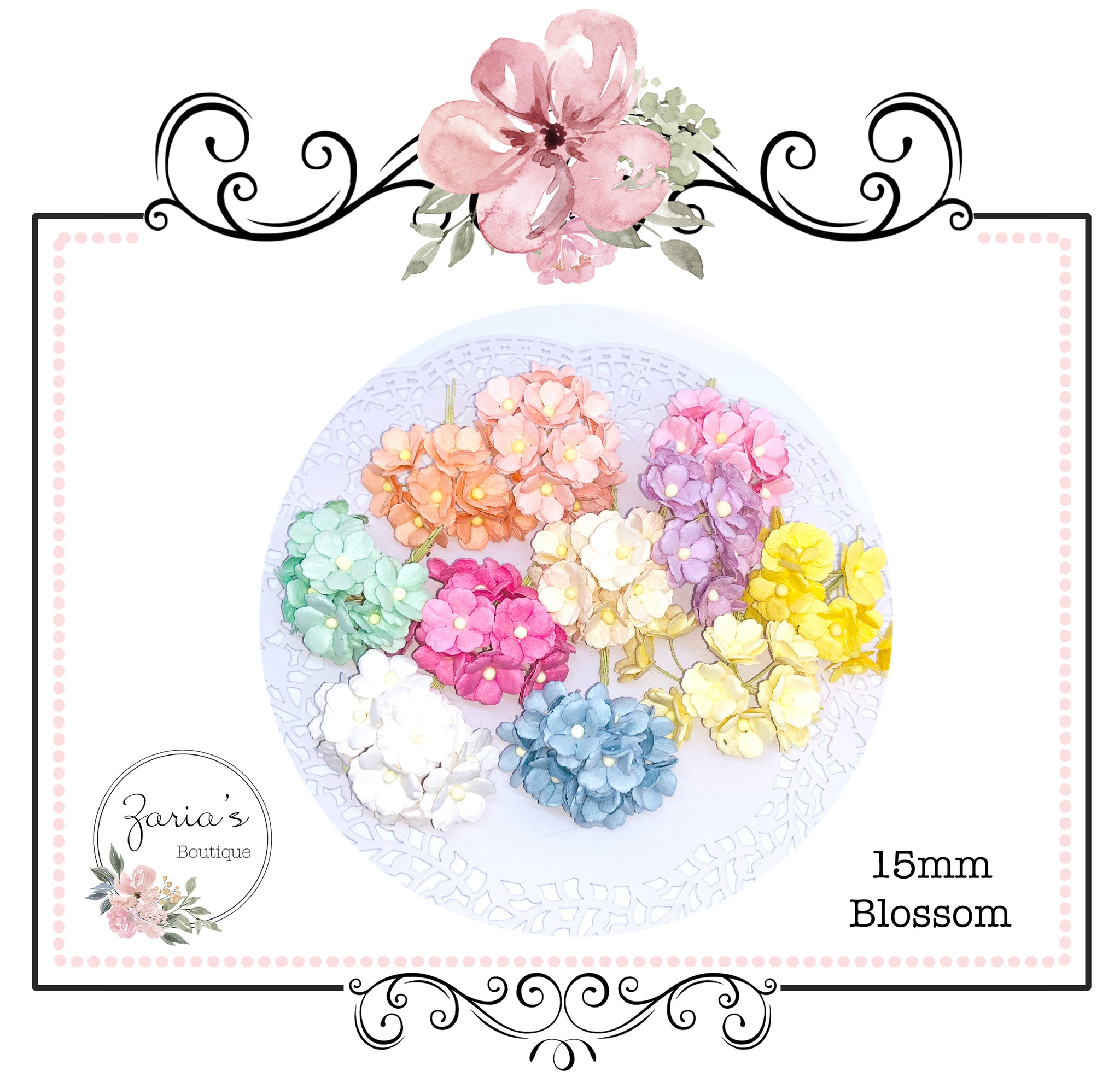 Mulberry Paper Flowers ~ Sweetheart Blossoms ~ Choice of Colours ~ 15mm x 5 pieces