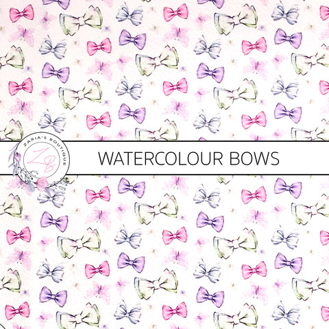 Watercolour Pastel Bows ~ Faux Leather ~ 1mm