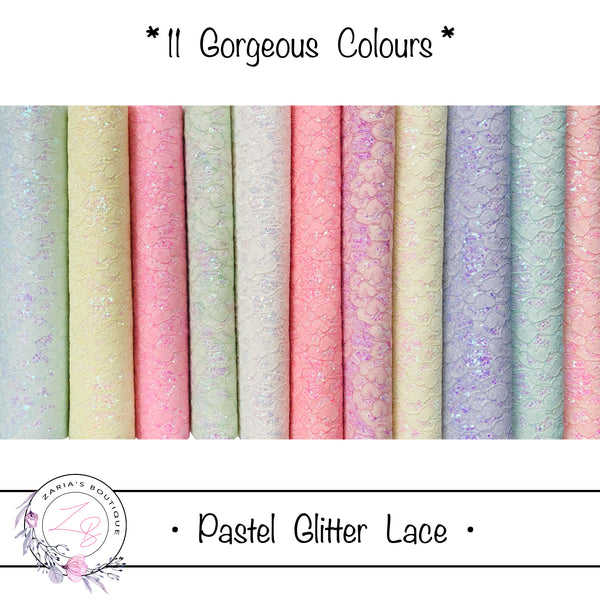 Pastel Glitter Lace ~   11 Colours ~ SIngle Sheets or Multi-Pack