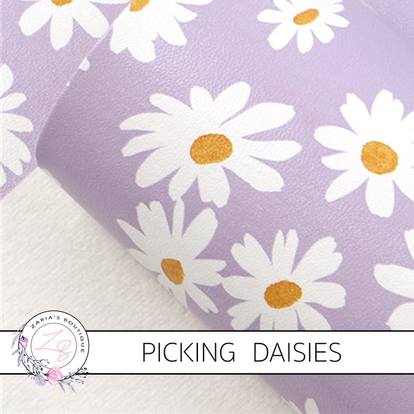 Picking Daisies ~ Lavender Purple Floral Faux Leather ~ 1mm