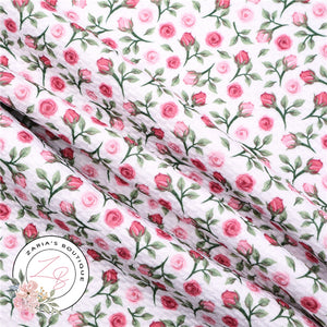 Pink & Green Rose Floral ~ Bullet/Liverpool Fabric for Bows