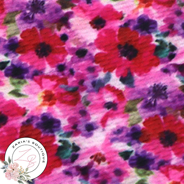 Pink & Purple Bold Floral ~ Bullet/Liverpool Fabric for Bows