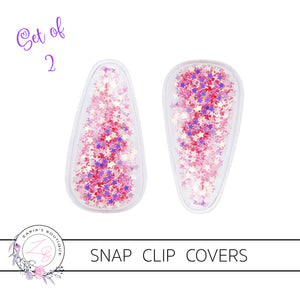 Shaker Snap Clip Covers ~ Rose Pink Stars ~ Pack of 2