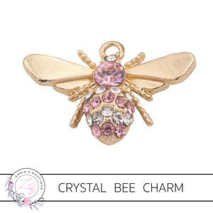 Gold Crystal Bee Charm Embellishment ~ 30mm