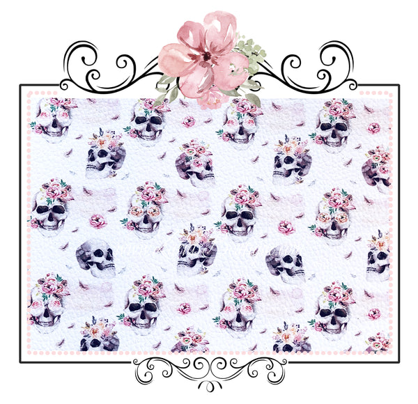 Pink Vintage Rose Skulls ~ Exclusive Luxe Leatherette Fabric ~ Floral