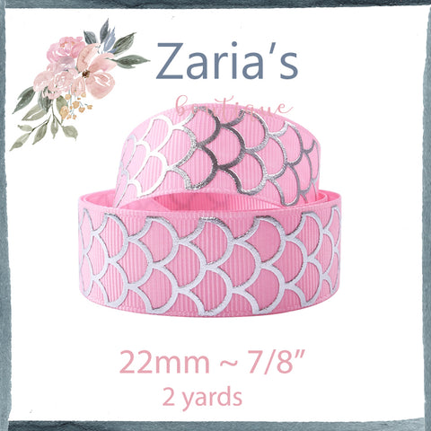 "2 yards ~ Silver Foil Pink Mermaid Scale Grosgrain Ribbon ~  7/8"" ~ 22mm"