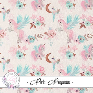 Custom Pink Pegasus Unicorn Floral Vegan Faux Leather