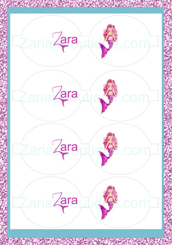 Mermaid Name Bows ~ Custom Printed Canvas Sheets ~ Pink/Purple ~ Bow Making