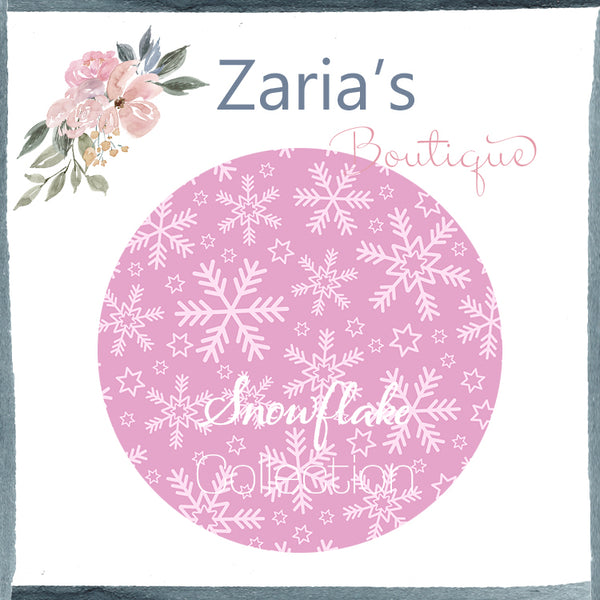 Snowflake Collection ~ Printed Canvas Sheets ~ Pink & White Snowflakes