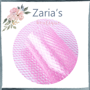 Transparent PVC Candy Pink Diamond Texture Bow Fabric