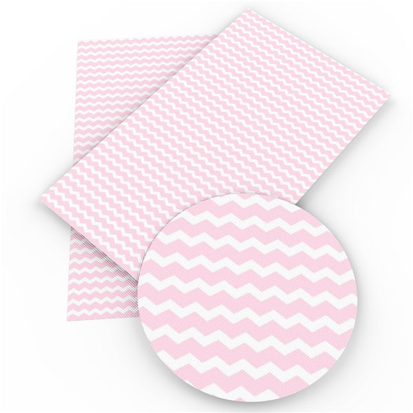 Pink White Chevron Faux Leatherette Craft Fabric