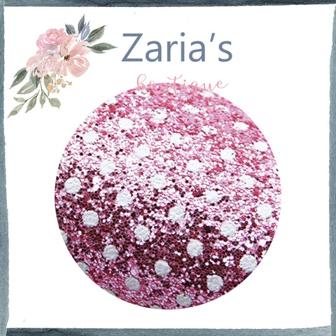 Pink/White Polka Dot Spots Chunky Glitter Bow Canvas Fabric