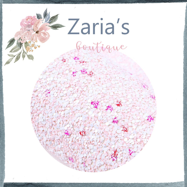 Frosted Sprinkle Pink ~ Chunky Glitter Faux Leather Fabric Sheets ~ 20x34cm