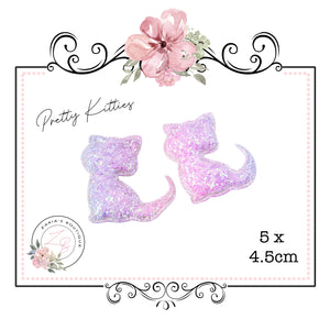 Pretty Kitties ~ Chunky Glitter Cat Embellishment ~ Pastels ~ 2 pieces