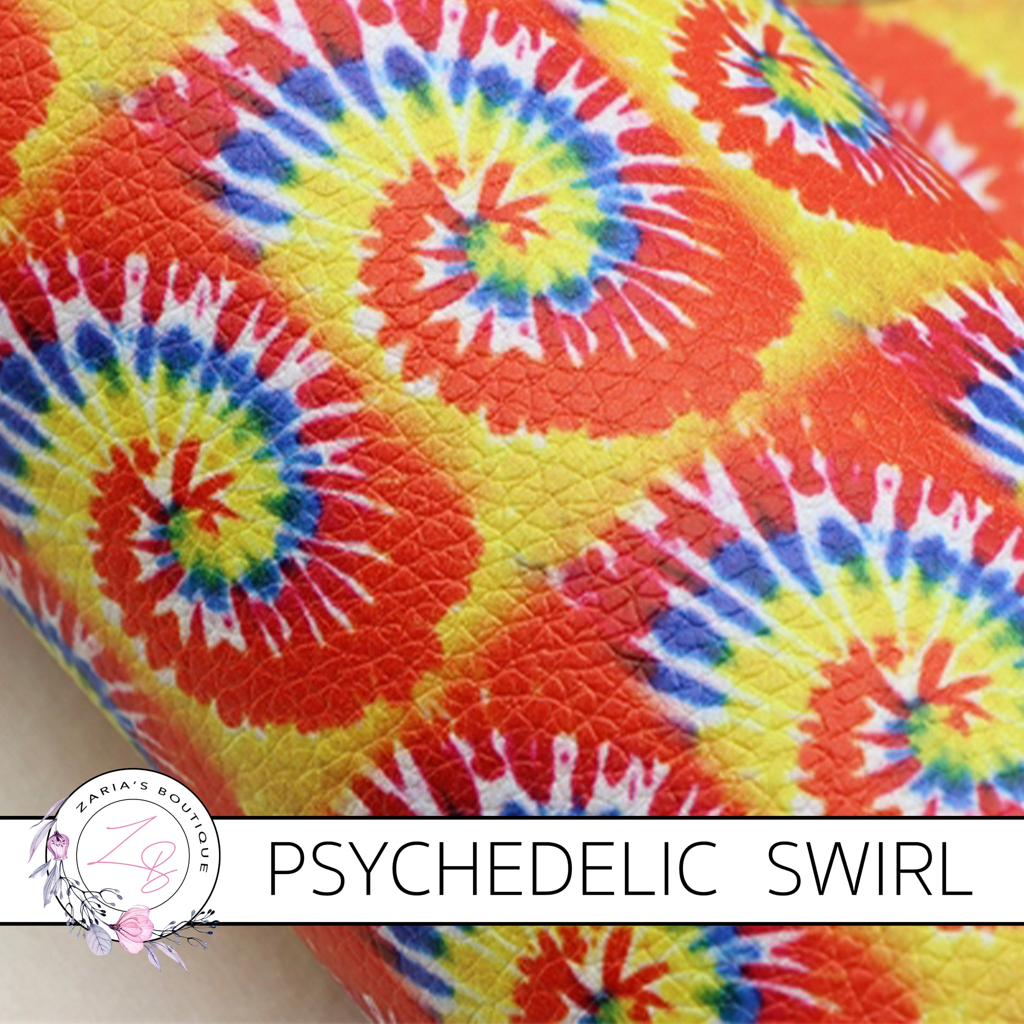 Psychedelic Swirl ~ Orange Red Yellow Blue ~ Faux Leather ~ 1mm