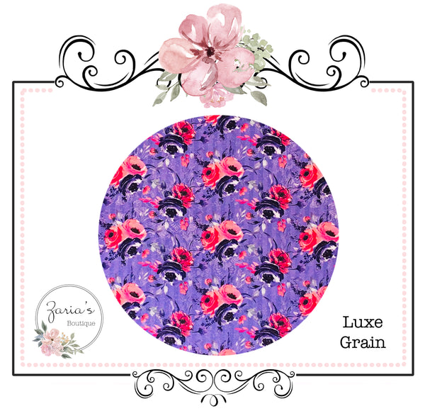 Pink Purple Floral  ~ Custom Luxe Grain Faux Leather ~ 0.90mm