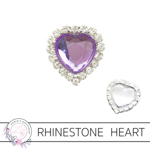 Rhinestone Heart Flat Back Embellishment • Purple