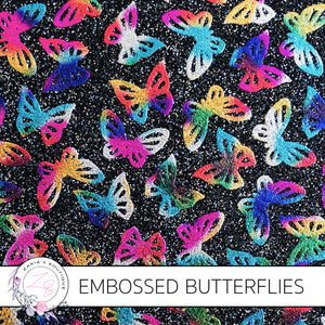 Embossed Rainbow & Black Butterfly Glitter